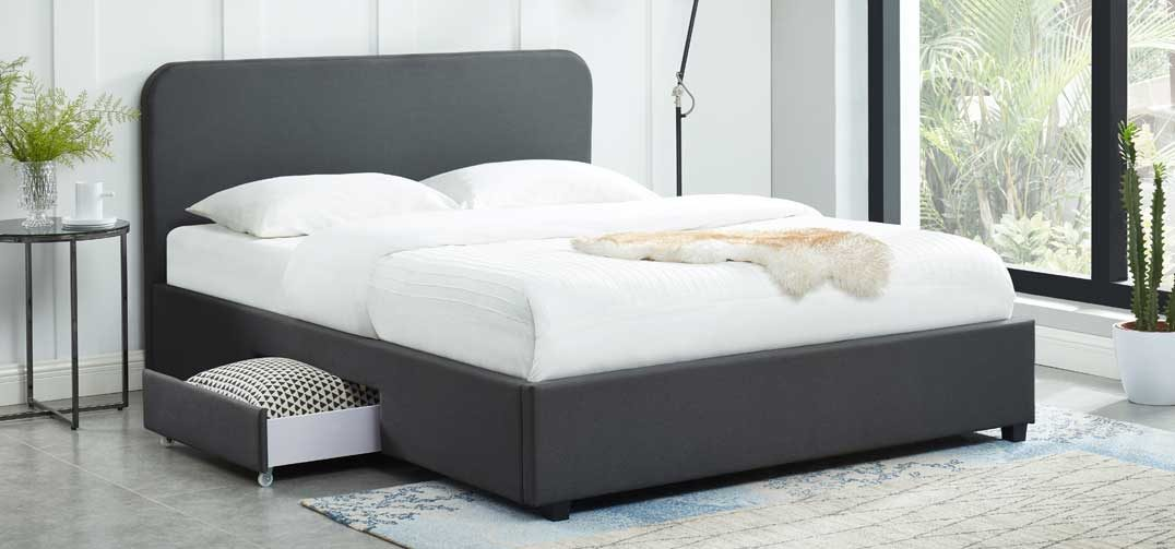 Kuka Storage Bed with 2 Drawers - Charcoal