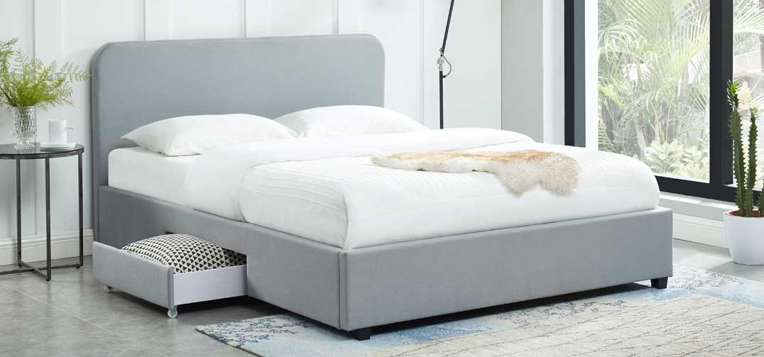 Kuka Storage Bed with 2 Drawers - Stone Grey